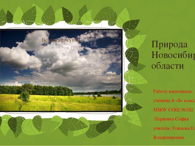 Природа Новосибирской области Работу выполнила: ученица 4 «Б» класса МБОУ СОШ...