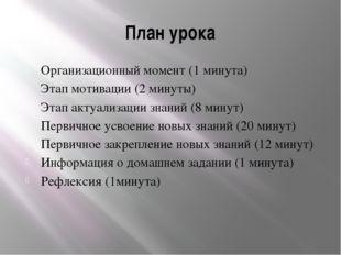 План урока Организационный момент (1 минута) Этап мотивации (2 минуты) Этап а