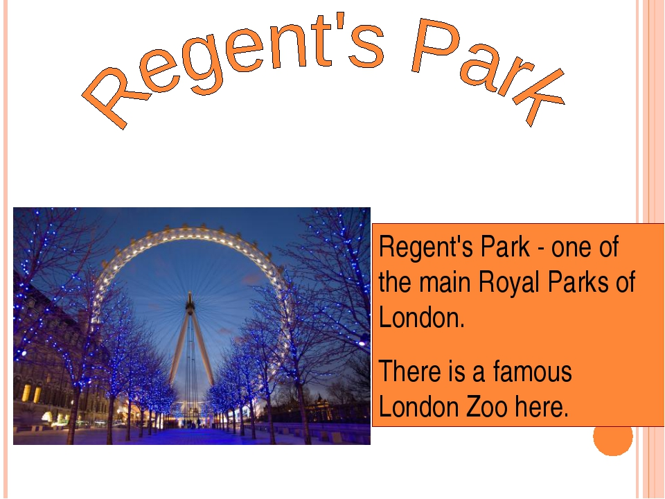 Regent's Park - one of the main Royal Parks of London. There is a famous Lond...