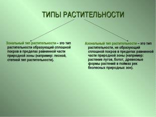 Азональный тип растительности – это тип растительности, не образующий сплошн