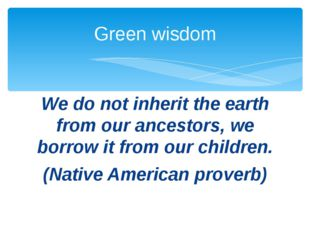 We do not inherit the earth from our ancestors, we borrow it from our childre