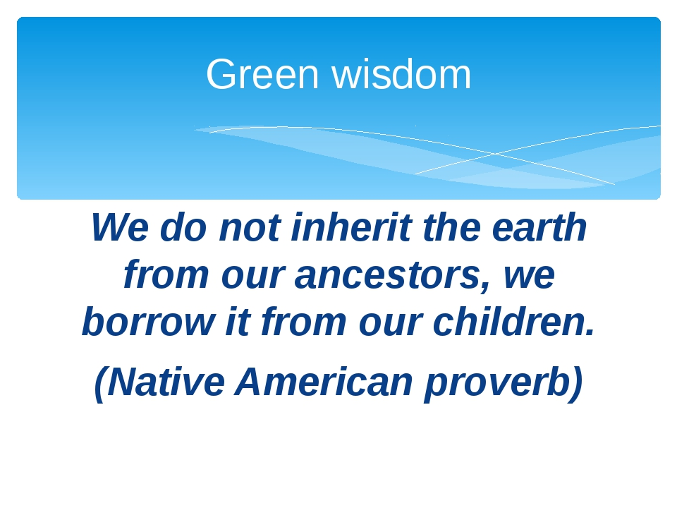 We do not inherit the earth from our ancestors, we borrow it from our childre...