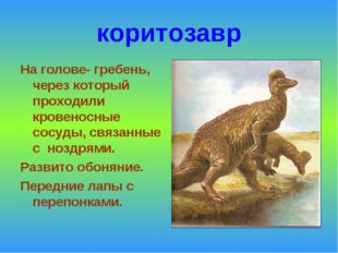 коритозавр На голове- гребень, через который проходили кровеносные сосуды, св