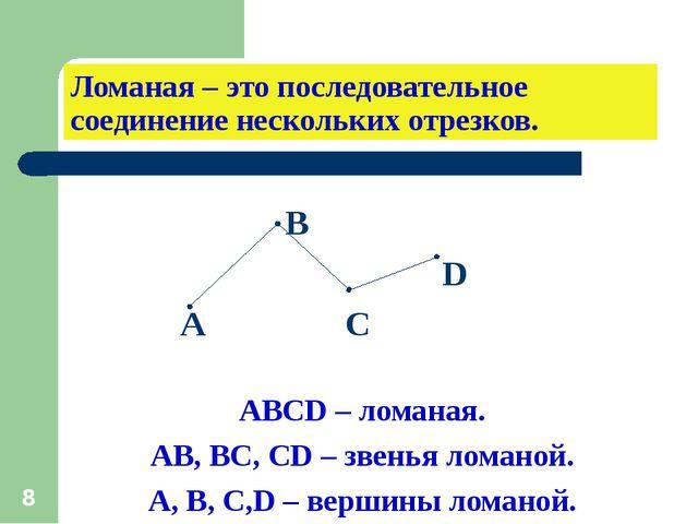 * Ломаная – это последовательное соединение нескольких отрезков. В D А С АВСD...