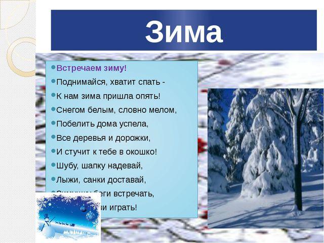 Зима Встречаем зиму! Поднимайся, хватит спать - К нам зима пришла опять! Снег...