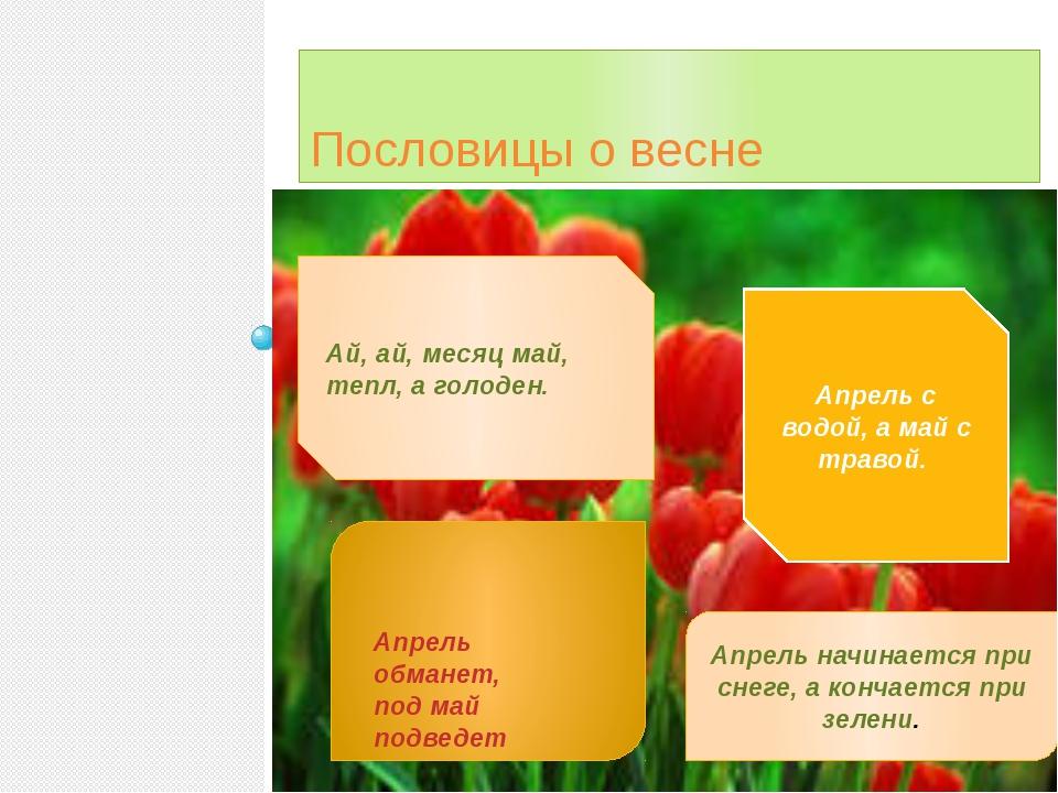 Пословицы о весне Ай, ай, месяц май, тепл, а голоден. Апрель начинается при...