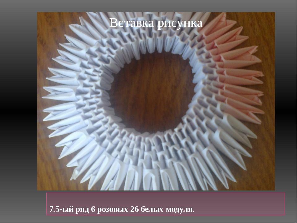 7.5-ый ряд 6 розовых 26 белых модуля.