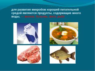 для развития микробов хорошей питательной средой являются продукты, содержащи
