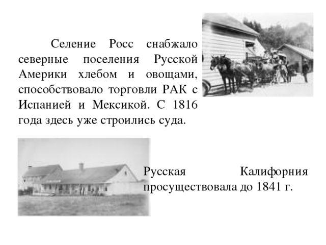 Селение Росс снабжало северные поселения Русской Америки хлебом и овощами, с...