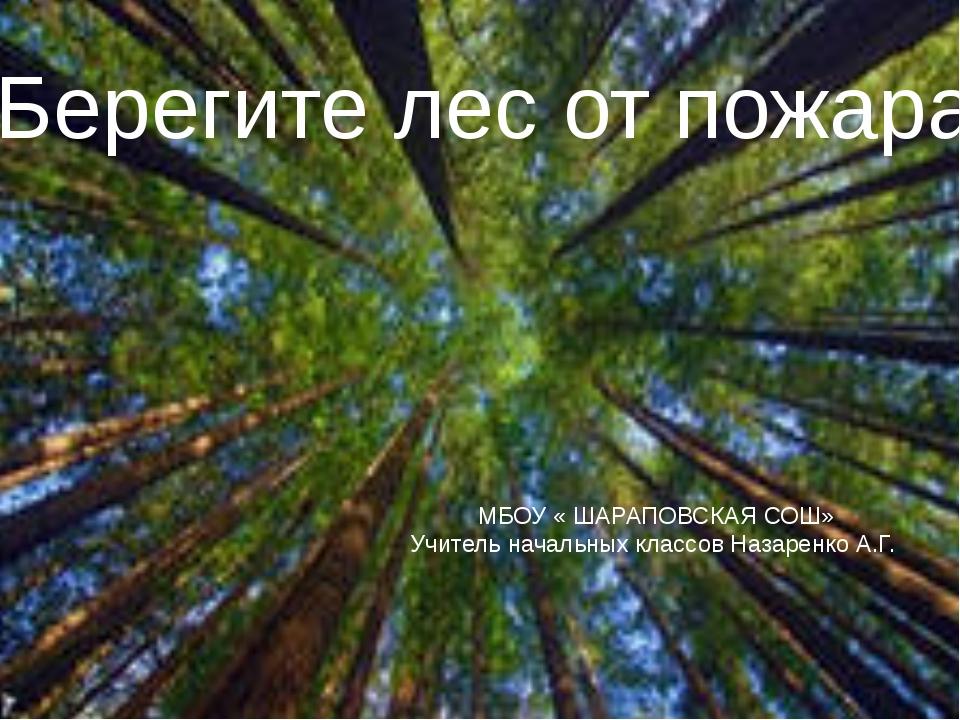 Берегите лес от пожара МБОУ « ШАРАПОВСКАЯ СОШ» Учитель начальных классов Наза...