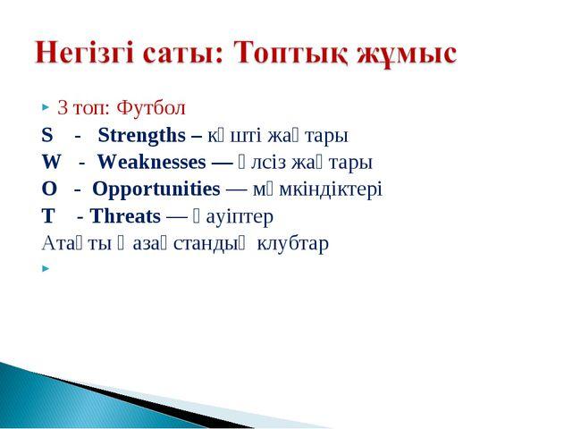 3 топ: Футбол S - Strengths – күшті жақтары W - Weaknesses— әлсіз жақтары О...