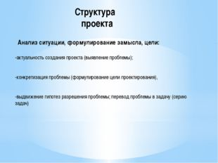 Структура проекта Анализ ситуации, формулирование замысла, цели: -актуальност