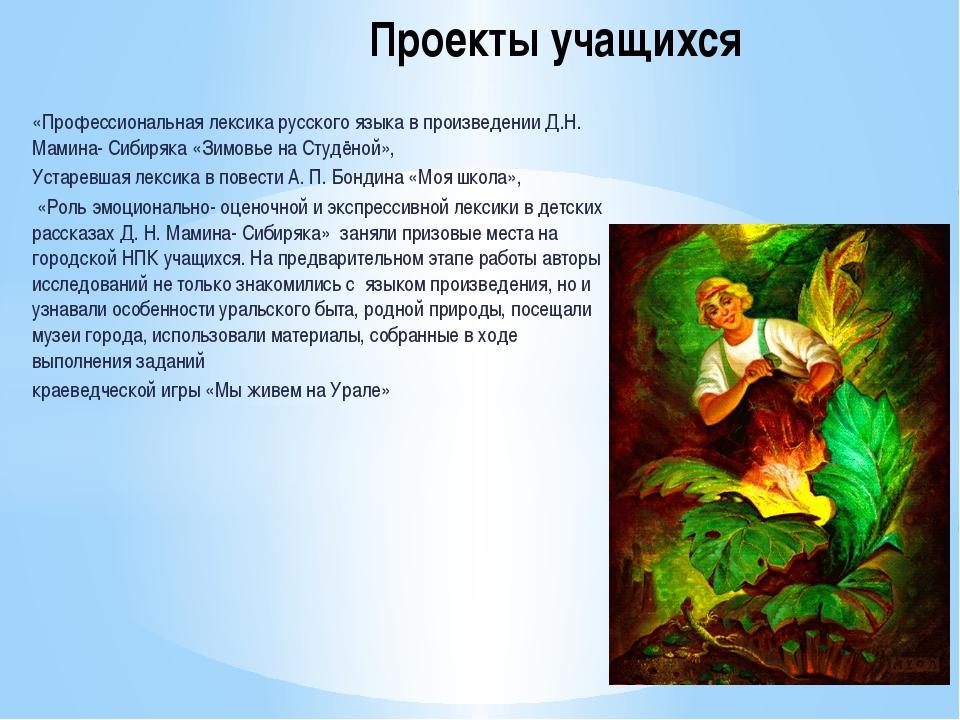 «Профессиональная лексика русского языка в произведении Д.Н. Мамина- Сибиряка...