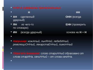 Н-НН в суффиксах прилагательных Н НН АН сделанный ОНН (всегда ударный) ЯН из