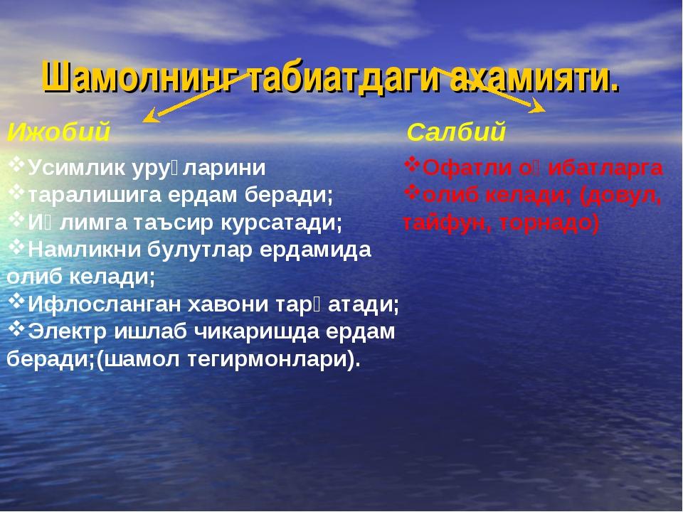 Шамолнинг табиатдаги ахамияти. Ижобий Салбий Усимлик уруғларини таралишига ер...