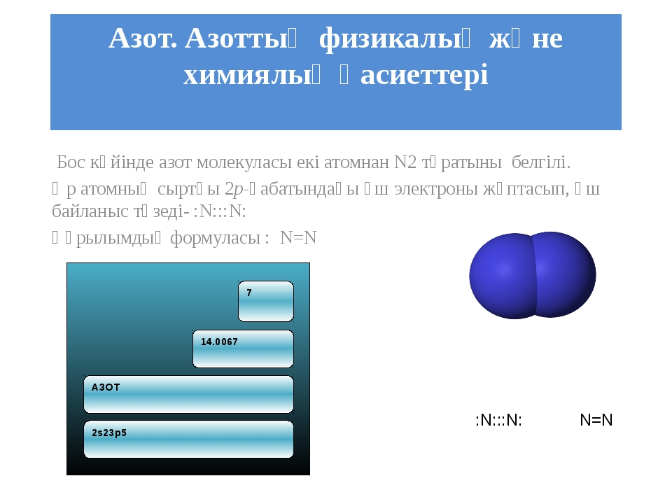Азот. Азоттың физикалық және химиялық қасиеттері Бос күйінде азот молекуласы...