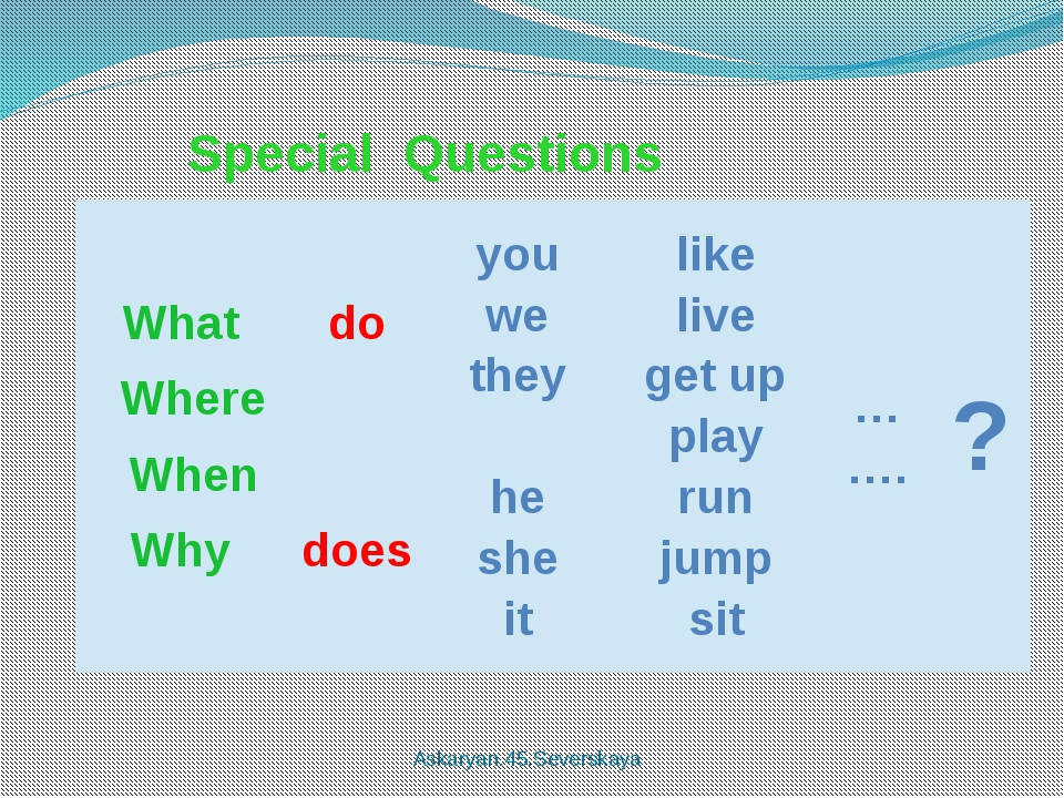 Special Questions Askaryan.45.Severskaya What Where When Why do does you we...