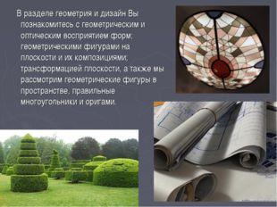 В разделе геометрия и дизайн Вы познакомитесь с геометрическим и оптическим