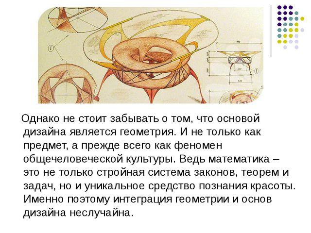 Однако не стоит забывать о том, что основой дизайна является геометрия. И не...