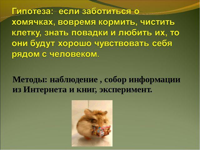 Методы: наблюдение , собор информации из Интернета и книг, эксперимент.