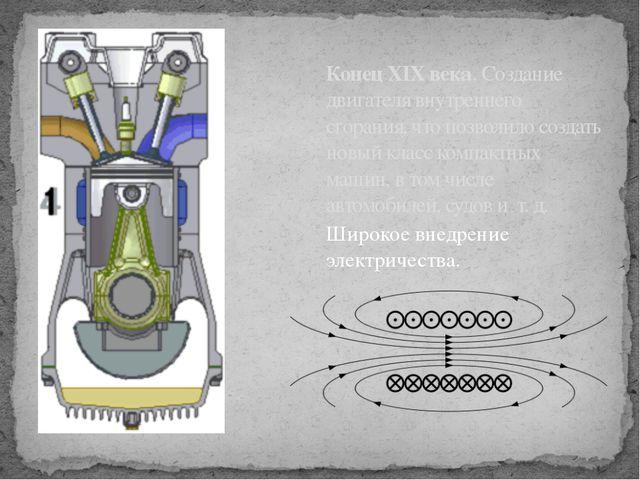 КонецXIX века. Создание двигателя внутреннего сгорания, что позволило создат...
