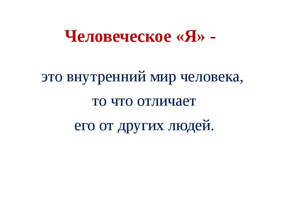 Человеческое «Я» - это внутренний мир человека, то что отличает его от других...
