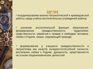 цели координирование военно-патриотической и краеведческой работы среди учебн
