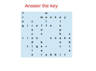 Answer the key f         w           r       m o n k e y   o   c     l     l