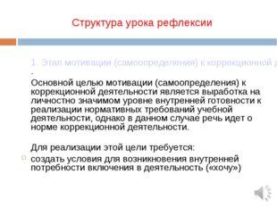Структура урока рефлексии 1. Этап мотивации (самоопределения) к коррекционно