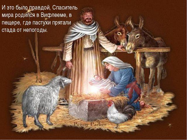 И это было правдой, Спаситель мира родился в Вифлееме, в пещере, где пастухи...