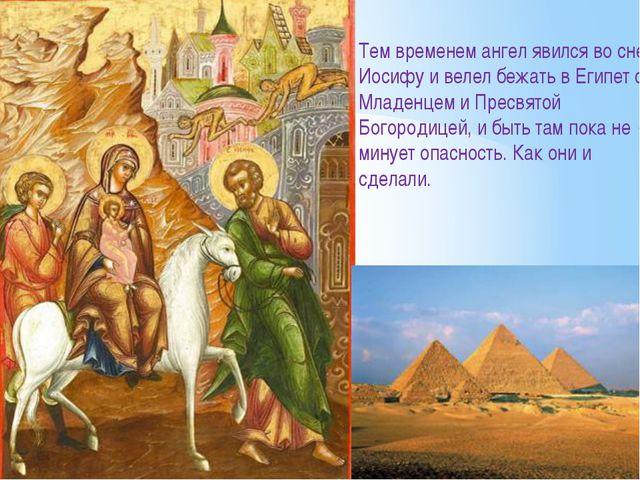 Тем временем ангел явился во сне Иосифу и велел бежать в Египет с Младенцем и...