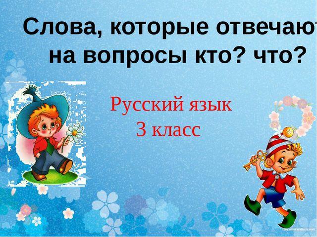 Слова, которые отвечают на вопросы кто? что? Русский язык 3 класс