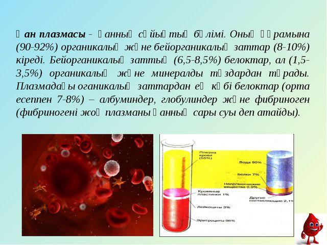 Қан плазмасы- қанныңсұйықтық бөлімі. Оның құрамына (90-92%) органикалықжә...