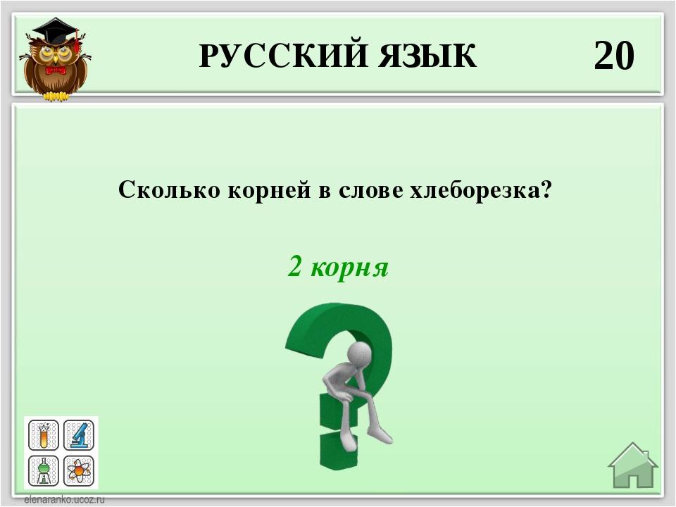 РУССКИЙ ЯЗЫК 20 2 корня Сколько корней в слове хлеборезка?