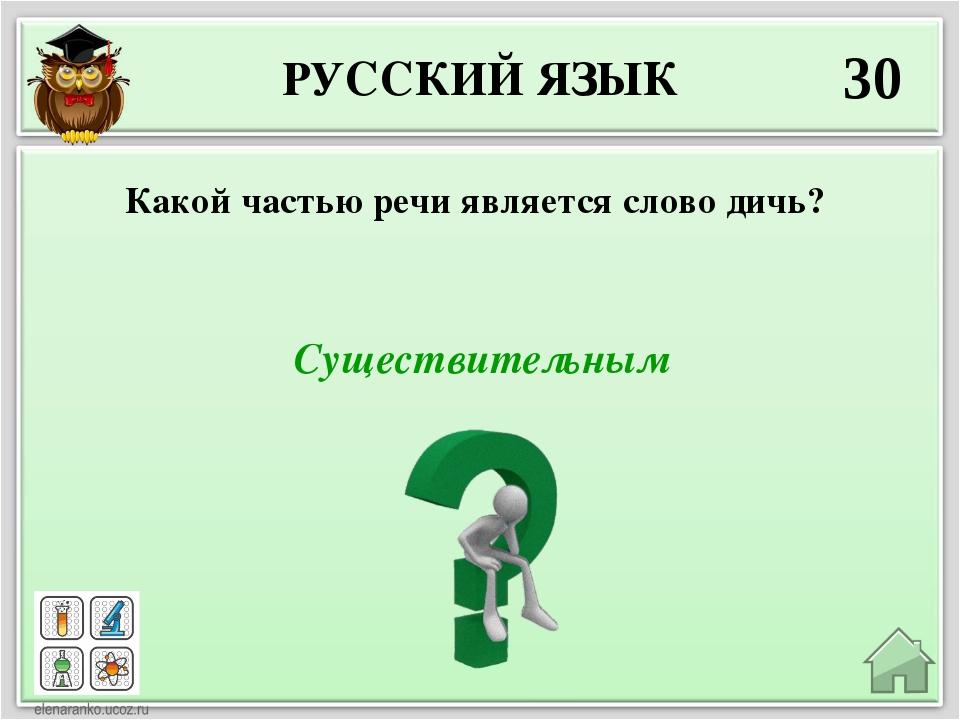 РУССКИЙ ЯЗЫК 30 Существительным Какой частью речи является слово дичь?