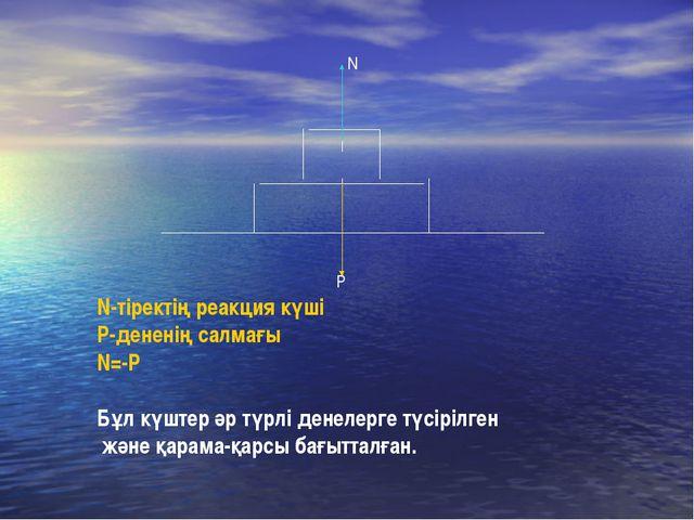 P N N-тіректің реакция күші P-дененің салмағы N=-P Бұл күштер әр түрлі денеле...