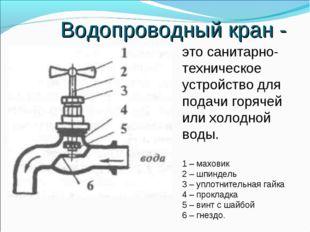 Водопроводный кран - это санитарно- техническое устройство для подачи горячей