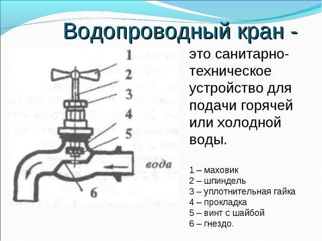 Водопроводный кран - это санитарно- техническое устройство для подачи горячей...