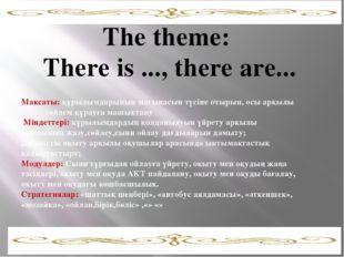 The theme: There is ..., there are... Мақсаты: құрылымдарының мағынасын түсі