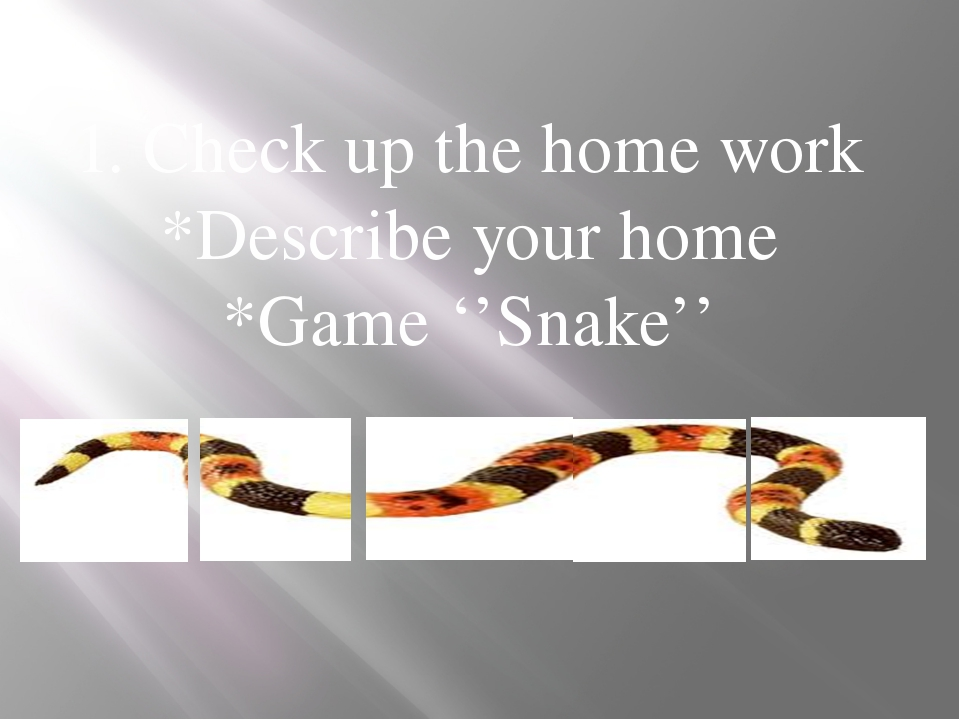 1. Check up the home work *Describe your home *Game ''Snake'' Ас үй Қонақ үй...