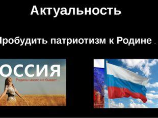 Актуальность Пробудить патриотизм к Родине .