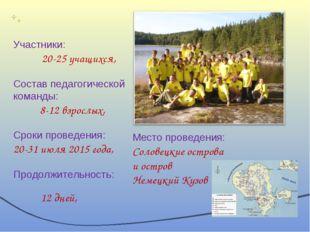 Участники: 20-25 учащихся, Состав педагогической команды: 8-12 взрослых, Срок