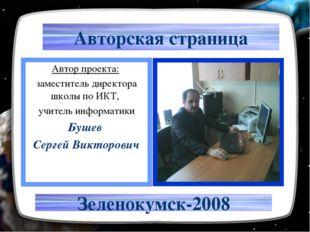Авторская страница Автор проекта: заместитель директора школы по ИКТ, учитель