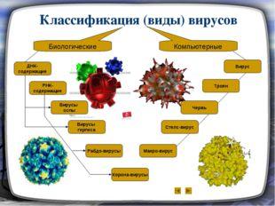 Классификация (виды) вирусов Биологические Компьютерные ДНК- содержащие РНК-