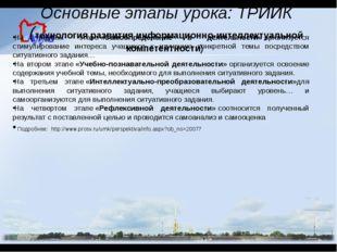 Основные этапы урока: ТРИИК (технология развития информационно-интеллектуальн