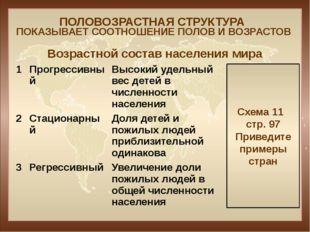 ПОЛОВОЗРАСТНАЯ СТРУКТУРА ПОКАЗЫВАЕТ СООТНОШЕНИЕ ПОЛОВ И ВОЗРАСТОВ Схема 11 ст