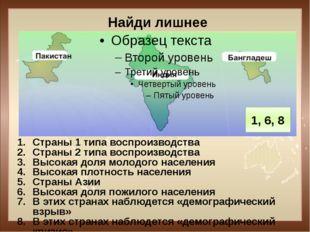 Найди лишнее Страны 1 типа воспроизводства Страны 2 типа воспроизводства Высо