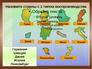 Назовите страны с 1 типом воспроизводства Германия Швеция Дания Италия Люксем