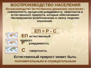 ВОСПРОИЗВОДСТВО НАСЕЛЕНИЯ ЕП = Р - С Р рождаемость ЕП естественный прирост С