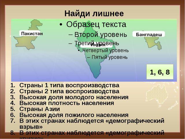 Найди лишнее Страны 1 типа воспроизводства Страны 2 типа воспроизводства Высо...